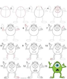 Drawing Doodles Sketches How to Draw Mike Wazowski Step by Step Drawing Tutorial with Pictures Easy Disney Drawings, Disney Character Drawings, Drawing Cartoon Characters, Disney Sketches, Easy Drawings, Drawing Cartoons, Easy Cartoon Drawings, How To Draw Cartoons, Drawing Disney