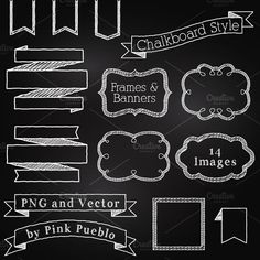 Chalkboard Elements Clipart & Vector by PinkPueblo on @creativemarket