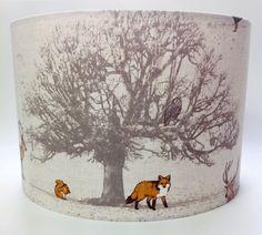 Tatton Woodland Animal Fabric Ceiling Lamp Shade Fox, Deer Stag Oak Tree