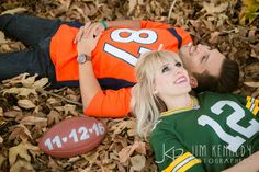 Love these cute football themed engagement photos! | nfl engagement | Jim Kennedy Photographers