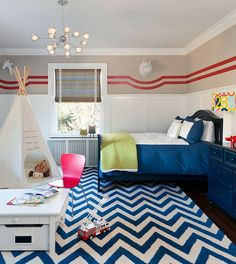 Bright chevron rug for the transitional kids room