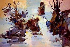 Title: River Inleet.  Original Watercolor. Watercolor. Framed 24x30. Unframed 15z22.  Learn more: www.woodyhansen.com