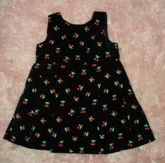 Mouse over image to zoom    Have one to sell? Sell it yourself  Retro Black Velvet Cherries Cherry Baby Girls Dress Rockabilly 18 mo