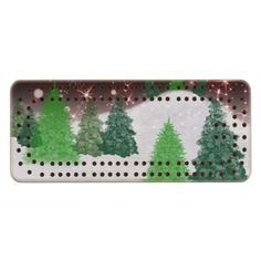 #zazzle #christmas Green christmas trees on a snowy winter hill with red sparkle night sky.