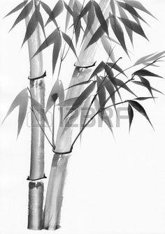 L art original peinture l aquarelle en bambou peinture de style asiatique Banque d'images