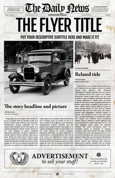 Old Newspaper Front Page Template Templates **Description**This old style newspaper front page contains easily editable photos and text throug by Newspaper Templates