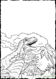 dinosaur and volcano coloring pages - Volcano Coloring Pages