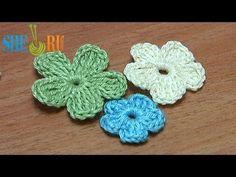 ▶ Crochet Small Flat Five-Petal Flower Tutorial 26 Part 2 of 2 - YouTube