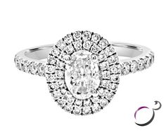 Double oval halo diamond engagement ring