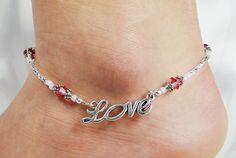Anklet, Ankle Bracelet, Cursive Love, Rose Pink Customizable Swarovski Crystal Beaded Beach Vacation Wedding Valentine Resort Cruise