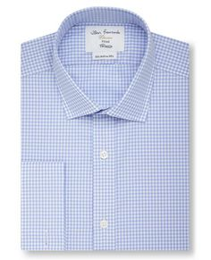 Fitted Blue Small Gingham Check Shirt