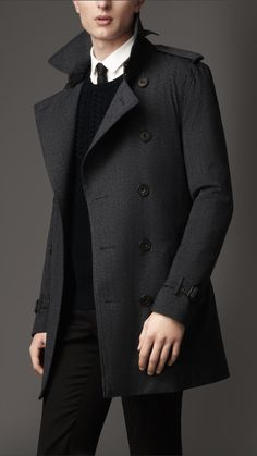 Mid-Length Technical Wool Trench Coat   Burberry