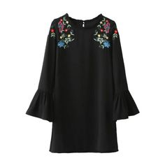 Black Floral Embroidery Ruffle Detail Bell Sleeve Dress (69 BRL) ❤ liked on Polyvore featuring dresses, frill dress, flower embroidered dress, ruffled dresses, flutter-sleeve dress and floral embroidered dress
