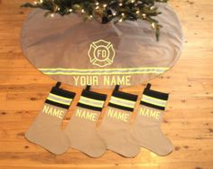 TAN Holiday Tree Skirt INCLUDES 4 matching STOCKINGS Like Firefighter Turnout Bunker Gear with Maltese Cross and Name of Your Choice
