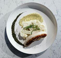 Chou-fleur vapeur son boudin blanc de Rethel de chez Demoizet et sa mayonnaise menthe laitue