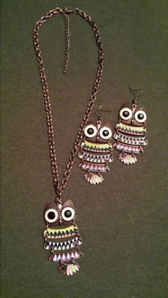 Check out this colorful owl necklace set in my Etsy shop!