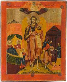 Alte große Original handgemalte Russische Ikone Johannes der Täufer 19 Jh. ICON | eBay