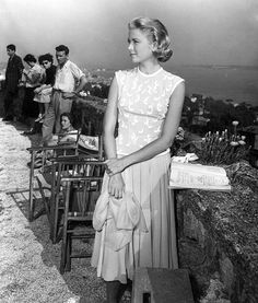 Grace Kelly on the set of To Catch a Thief (1955)
