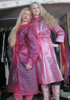 Pink Raincoat, Plastic Mac, Two Ladies, Pvc Vinyl, Raincoats For Women, Rain Wear, Macs, How To Wear, Inspiration
