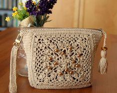 CROCHET BAG PATTERN Diana Purse Bag Wristlet purse bag crochet pdf pattern Instant Download easy crochet bag pattern beaded bag