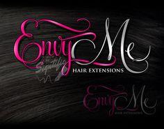 Hair extensions logo design beauty salon logo pink by Signtific
