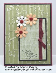 NJ Stamping Queen--sympathy card with retired Close to My Heart products and Darice Bamboo embossing folder