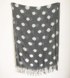 Image of Grey Polka Dotted Cotton Voile Shawl/Scarf