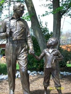 Mount Airy, NC ... the hometown inspiration for Andy Griffith's Mayberry and the classic Andy Griffith Show ... statues at The Mount Airy Visitors Center.