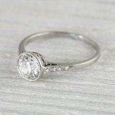 1.03 Carat Vintage Art Deco Diamond Solitaire Engagement Ring | Vintage & Antique Engagement Rings | Erstwhile Jewelry Co NY