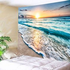Sunrise Beach Waves Print Tapestry Wall Hanging Art TONS of them on this site. Inspire Me Home Decor, Reproductions Murales, Waterfall Scenery, Blanket On Wall, Wall Blankets, Blue Blanket, Cheap Wall Tapestries, Tapestry Wall Hanging, Bricolage
