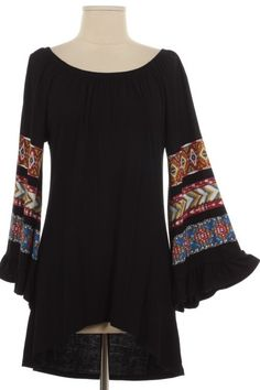 Black Tunic Top with Aztec Sleeves (S-XL)