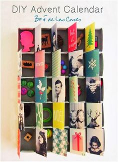 Loving the mix of photos and patterns. DIY Advent Calendar