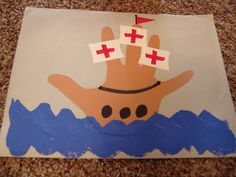 Cute Columbus Day art project. Trace around the hand for the ship! For more pins like this visit: http://pinterest.com/kindkids/social-studies-charlotte-s-clips/