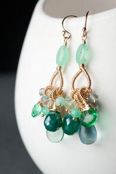 Gold Coil Earrings w/ Minty Chrysoprase,Emerald Green Topaz, Green Onyx & Fluorite: Chinni. $144.00, via Etsy.