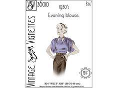 1930's Evening blouse B34 PDF sewing pattern VSV | Etsy