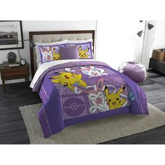 Pokemon Lavender Chu Twin/Full Bedding Comforter Set For Girls Kids Bedroom Decoration Big Girl Bedrooms, Small Room Bedroom, Kids Bedroom, Bedroom Ideas, Lilac Bedroom, Child's Room, Kids Bedding Sets, Comforter Sets, Pokemon Room