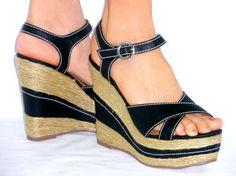 Sexy Strappy Sandalscomfy Platform Lightweight Espadrille Wedge Black 85