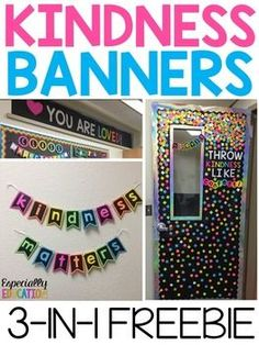 """After several requests, I've decided to upload three of my favorite classroom banners. These powerful messages add color to any wall or bulletin board display!This download includes the following sayings:""""Throw Kindness Like Confetti"""" """"You Are Loved"""" """"Kindness Matters"""""""