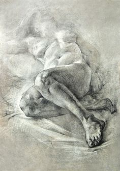 Russian Academy of Arts student reclining nude female musculature legs anatomy figure study drawing. #NSFW <3