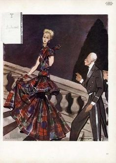 MOLYNEUX Fashion Illustration French Magazine Page 1946 - Plaid Eve Gown MOURGUE Molyneux, Flapper Era, French Magazine, Magazine Mode, Illustration, Eve, Plaid, Gowns, Advertising