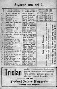 Kalisz w Internecie. Historia. Kalendarz kaliski 1914
