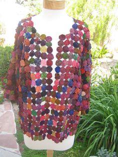 Vintage 1970's Thailand Cotton and Silk Yo-Yo Quilt Coat Jacket