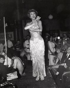 """Weegee, """"Gypsy Rose Lee, one of the judges in the Miss Fantasmagoria contest, provided the beauty at the Ball. She's holding her dog,"""" 1961 Old Hollywood Glamour, Vintage Glamour, Classic Hollywood, Weegee Photography, Candid Photography, Showgirl Costume, Burlesque Costumes, Gypsy Rose Lee, Pin Up Pictures"""