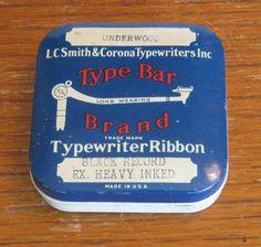 Vintage Square LC Smith & Corona Type Bar Brand Typewriter Ribbon Tin by CanemahStudios on Etsy