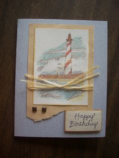 Lighthouse birthday Stampin Up card