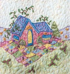Periwinkle Lane BOM – Block 9 Embroidery Pattern Periwinkle Lane – Block 9 Embroidery Pattern by Black Cat Creations – Jackie Theriot. BOM embroidery and crayon pattern of a home in a patchwork field. Embroidery Flowers Pattern, Hand Embroidery Designs, Vintage Embroidery, Flower Patterns, Quilt Patterns, Embroidery Ideas, Sewing Patterns, Advanced Embroidery, Embroidery For Beginners