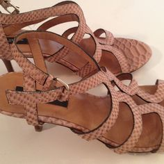 SALE!!! Fabulous Ann Taylor leather sandals Gorgeous and sexy light brown and beige stamped leather strappy sandals.  Lightly worn. Pre-loved. In excellent condition! A lot of life left in these beauties!! Ann Taylor Shoes Sandals