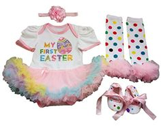 AISHIONY Baby Girl My 1st Easter Tutu Costume Outfit Newborn Party Dress 4PCS XL