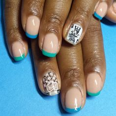 #Basquiat x #KeithHaring with some fun colored tips. #naturanails #artinspired