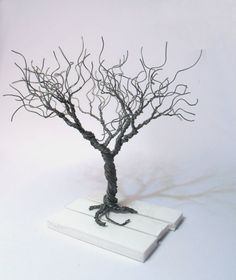 wire tree silver plated copper wire minimalistic by WireMyTree The Purple, Model Tree, Purple Trees, Tree Artwork, Wire Trees, Black Tree, Miniature Trees, Tree Sculpture, Bijoux Diy